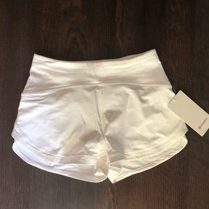 NWT lululemon run the line shorts White w/ reflect